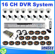 16 ch security system h.264 dvr & Plastic IR Dome Camera,8chs Cctv Camera Kit,16ch Sistema De Cctv