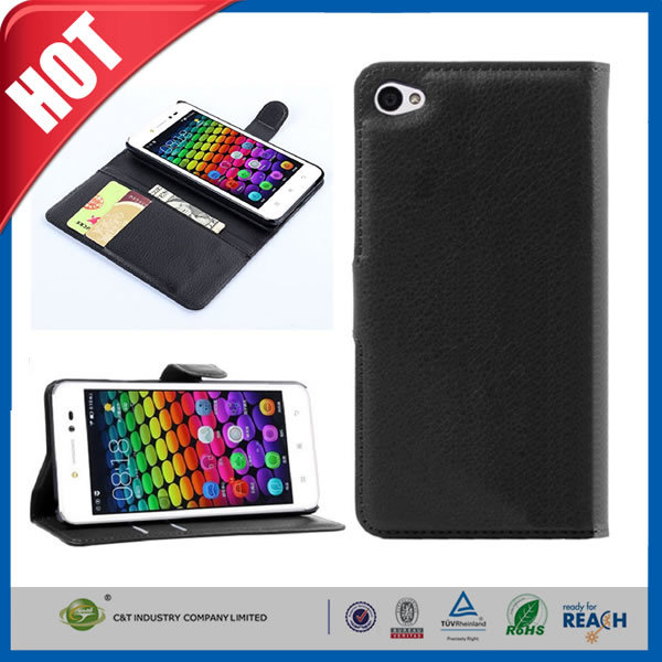 C&T Innovative leather PU flip wallet cover for lenovo sisley s90 mobile phone case
