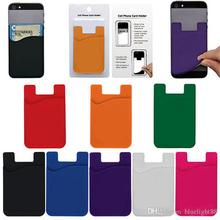3M Sticky Phone Wallet Silicone Self Adhesive Card Pocket Covers Colorful Credit Card Holder Wallet Smart Silicone Phone bag