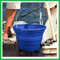 Easy to carry collapsible beach bucket,folding silicone plastic bucket beach toys