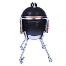 21 Inch Black Kamado Ceramic Charcoal Grill Steel Egg BBQ