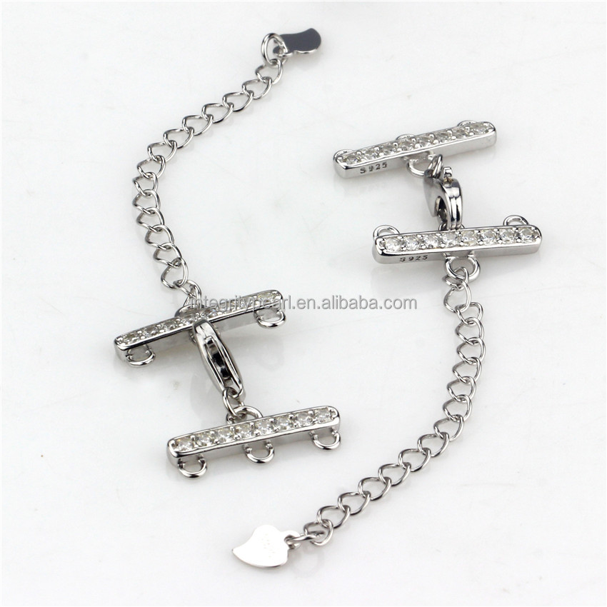 SNH 100% 925 sterling silver three rows clasp for jewelry wholesale