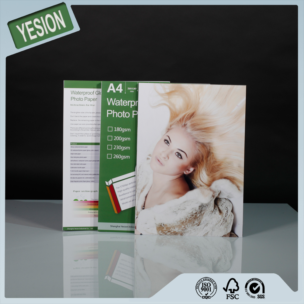 Printable fast dry 300gsm glossy double sided inkjet waterproof bulk photo paper 3r