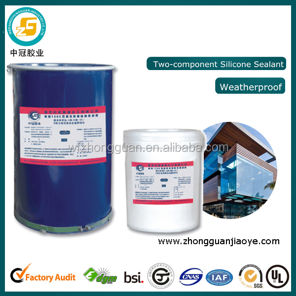 Two part silicone sealant for building construction glass concrete wood