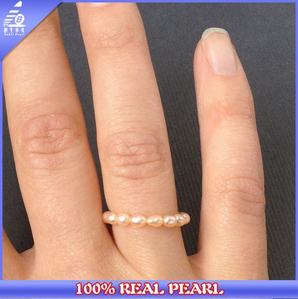 2014 Adjustable Size 3-4MM rice AA pink Freshwater Pearl Fashion Ring