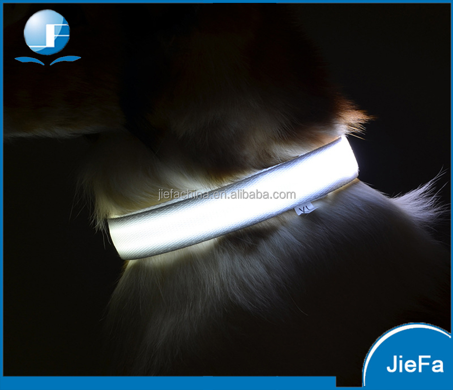 Durable single fiber optic LED pet collar rechargeable battery led dog collar