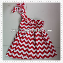 Wholesale lovely chevron baby girls dress boutique one shoulder red white chevron well made knit cotton drss for baby girls