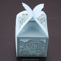 Lovely butterfly and flower laser cut paper wedding favor box