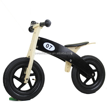 Kids wooden balance bike running bike