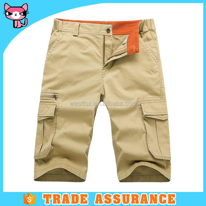 New fashion 6 pockets blank mens 3/4 cargo shorts in beige