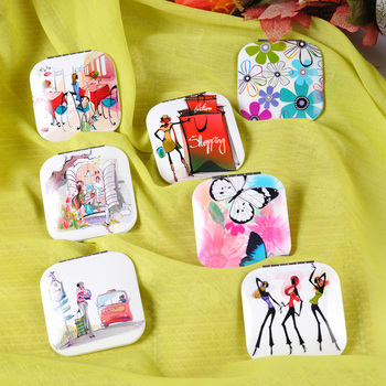 Square Aluminum Printed Pocket Cosmetic Mirror