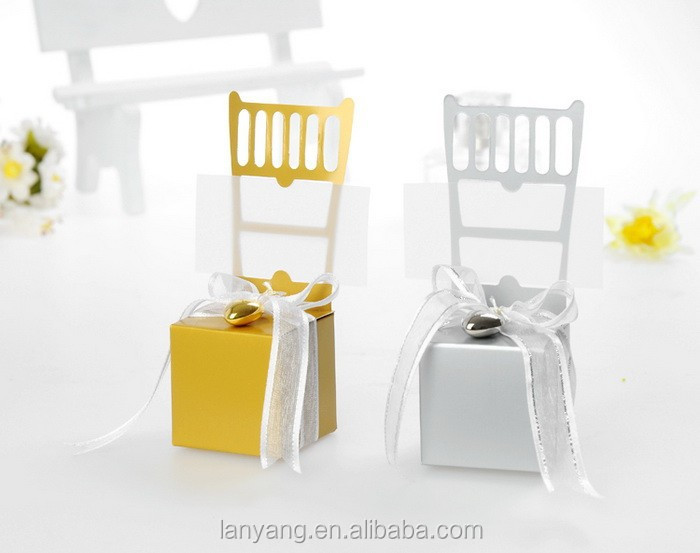 Wedding favors Miniature Gold and silver chair gift box for candy with Ribbon
