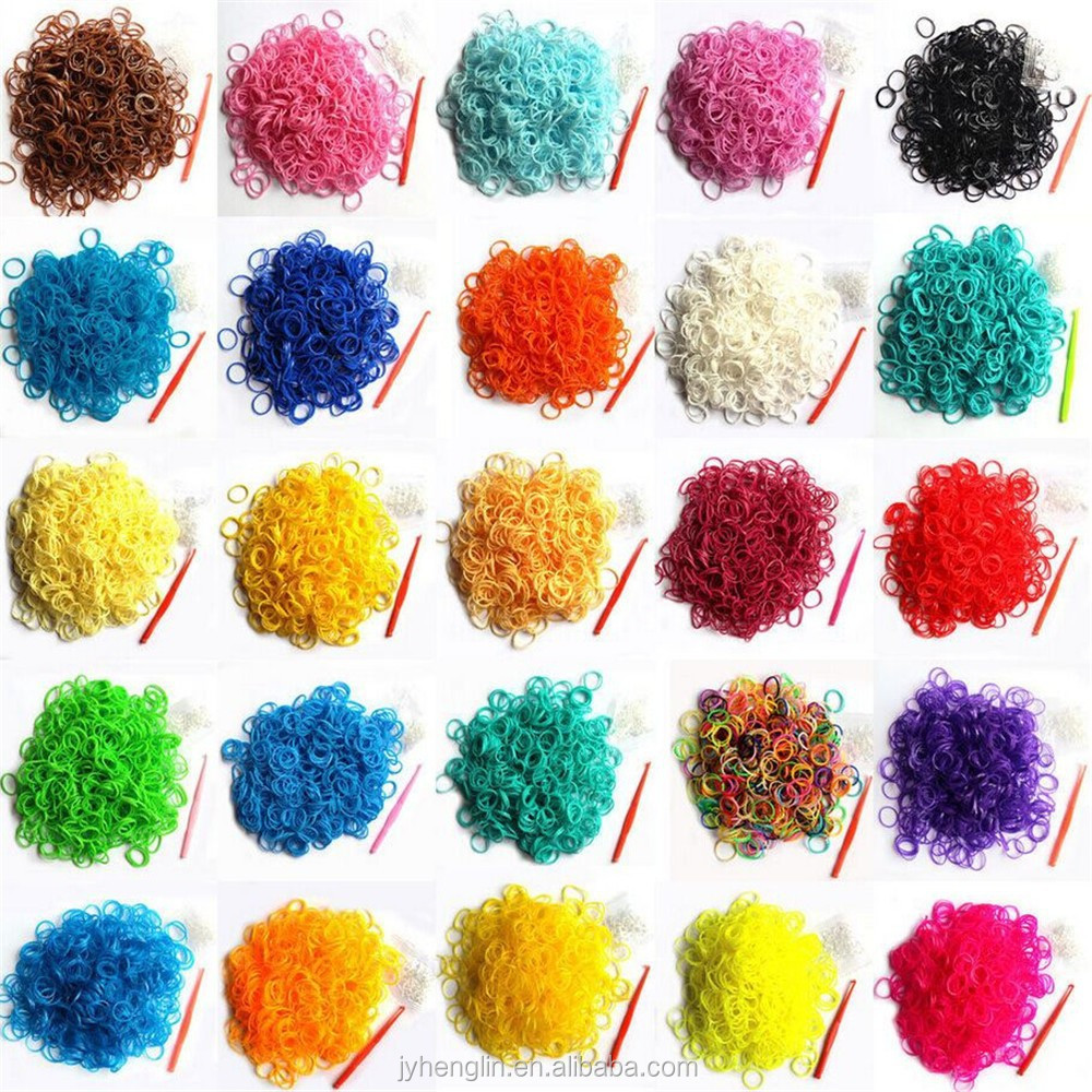 Rainbow colour Loom / DIY Loom Refill Rubber Bands (600pcs) + Clips (24 pcs) MORE COLOR