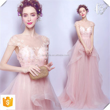 Pink spaghetti strap off shoulder women evening dress /bridal Evening gown Pink bridesmaid gown