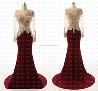 Amazing Mermaid Burgundy Heavily SequinsTop Satin Sheer Long Sleeves Evening Dresses FMG21