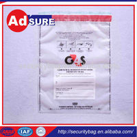 Bank Cash Bags Bar Code/Plastic Bank Money Bags/Ldpe Security Tamper Evident Seal Bags