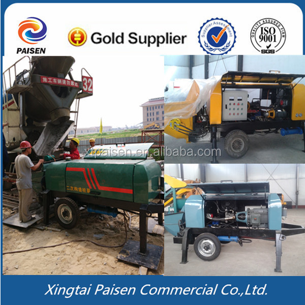 200meters diesel motor concrete pouring equipment/stone concrete trailer pump