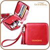 2016 Hot Sale Genuine Smooth Leather Women Clutch Wallet Lady Wallet with removable Tassel and Wrist strap