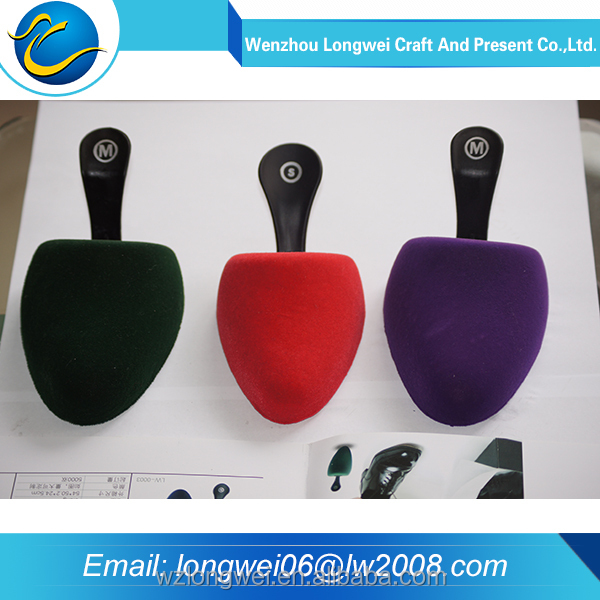 good quality plastic pu flocking shoe lasts/pu shoe tree/shoetree