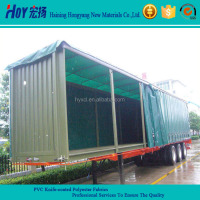 Green PVC Coated Side Curtain / Truck Side Curtain Fabric