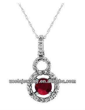Ruby and Diamond Pendant Necklace hong kong jewelry wholesale fashion jewelry necklaces