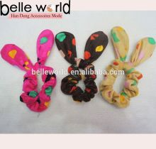 Yiwu head bands velvet hair scrunchies wholesale elastic hair tie with rabbit ears