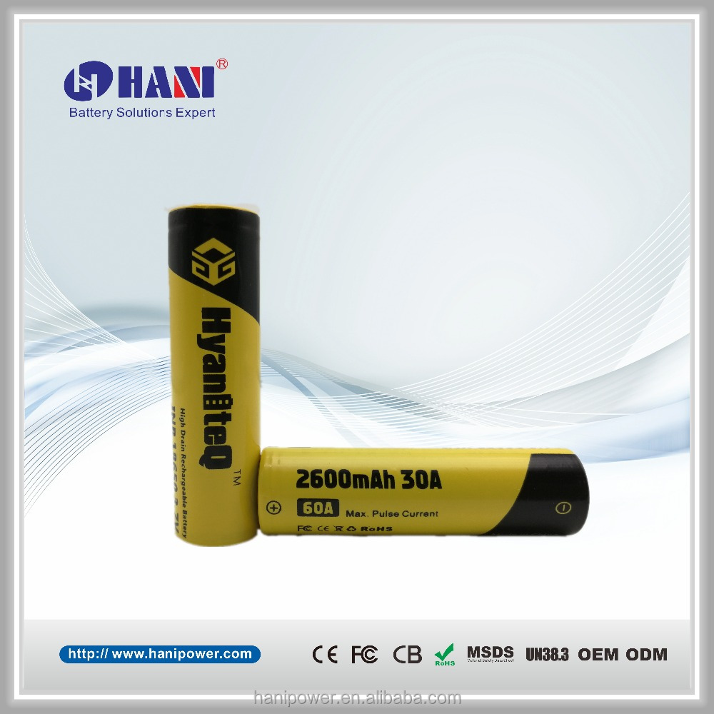 Hot Selling Authentic Lithium Ion Battery 3.7V 2600mAh 30A Long Lasting E Cigarette Battery for Vapor