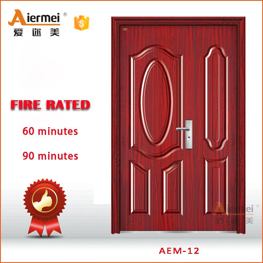 Unequal Double Swing Residential Interior Wood Door Anti Theft Fire Rate Steel Security Wrought