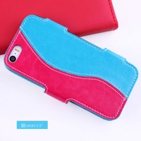 stylish leather flip cover for iphone 5s leather case with magnet closure design phone case