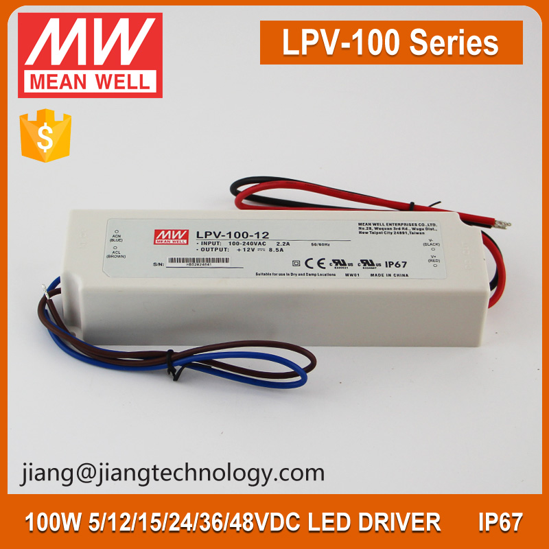 Mean Well Waterproof IP67 Rate 100W 48V 2.1A LED Driver Supply LPV-100-48