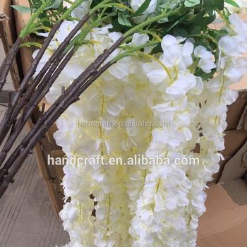 1.2m White Silk Flower Wisteria For Wedding Decoration , Buy Decoration  Wedding Flower For Wedding Car,Silk Flower Wall Decoration,Artificial  Flower