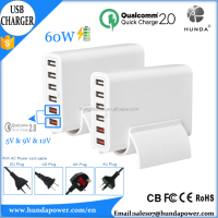 Hongda Shun 60W/12A 6-port USB Charger smart quick charge 2.0 adapter for all iOS and Android mobile phone devices