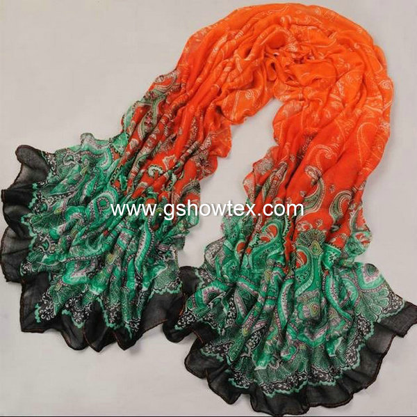 New style polyester chiffon printed scarf