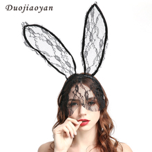 Hot Sale Costume Party Veil Hairband Sexy Animal Headband Halloween Accessories Lace Rabbit Ears Head Band For Women