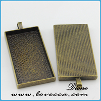 Vintage Rectangle Shaped Pendant Trays -- Antique Bronze -- Pendant Blanks Cameo Bezel Cabochon Settings 25mm * 50mm