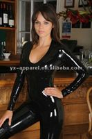 shinny woman latex leather body suits