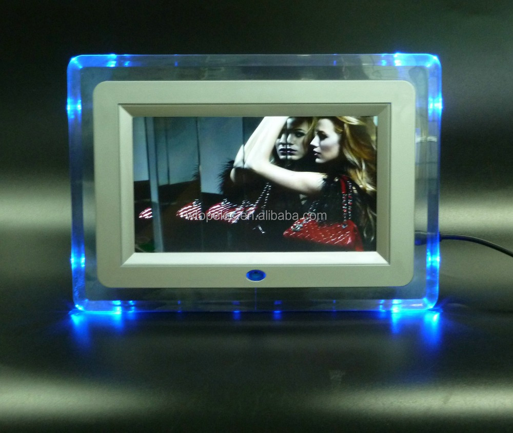 Acrylic Frame Material 7 Inch Wall Mount Digital Photo Frame With 4pcs Blue Led Light & Support ...