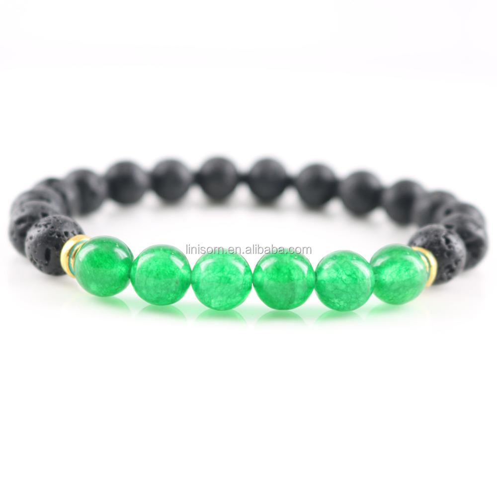 New Handmade Natural Lava <strong>Stone</strong> With Green Malaysian jade Beaded Bracelet Men Gold Plated Beads Strand Bangles for Women Jewelry
