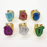 WT-R242 Fashion 24k gold plated natural druzy geode agate ring stone ring