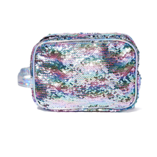 Rainbow sequins customized cosmetic pouch bag glitter makeup case