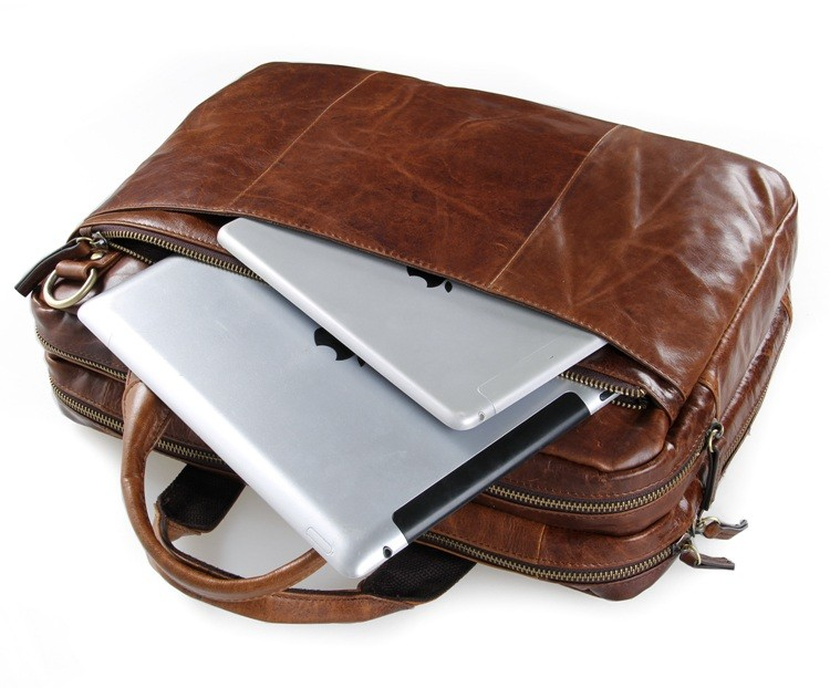 7092-2B Genuine Leather Laptop Bag for Weekend Men Business Bag