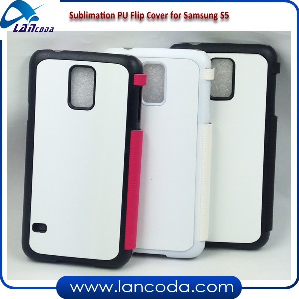 Printable PU sublimation leather flip mobile phone case for samsung galaxy S5