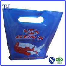 Dark blue full printing die-cut handle poly bags for packaging shoes,durable and beautiful