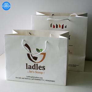 Custom Logo Printing White Kraft Paper Bag with Handle