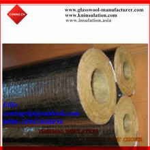 Rock wool pipe with cut adhesive tape Alum.foil