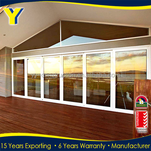 Exterior prices soundproof multi stack sliding patio garge for Exterior multi track sliding doors