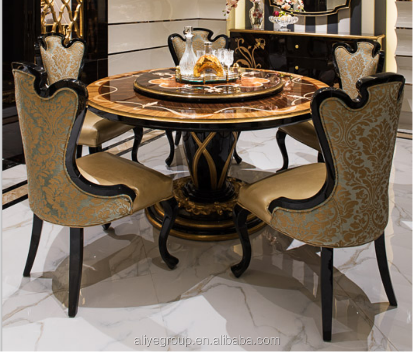 TN-023-European style luxury dining set, round dining table and chairs, royal dining room furniture