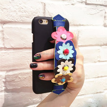 New Design For Phonecase Colorful Flower Wristband Cute Leather Case Cover