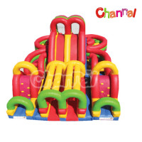 Giant Bright Color Inflatable Obstacle Course Structure for Kids and Adults
