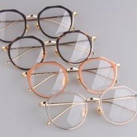 Fashion Gold Metal Frame Eyeglasses Vintage
